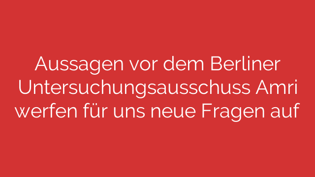 Aussagen vor dem Berliner Untersuchungsausschuss Amri werfen für uns neue Fragen auf