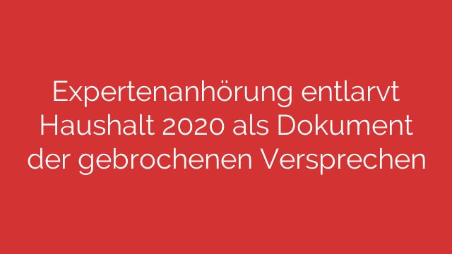 Expertenanhörung entlarvt Haushalt 2020 als Dokument der gebrochenen Versprechen
