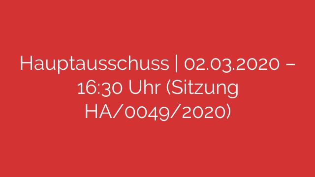 Hauptausschuss   02.03.2020 – 16:30 Uhr (Sitzung HA/0049/2020)